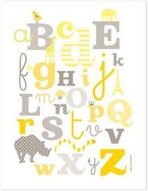 Gray yellow alphabet