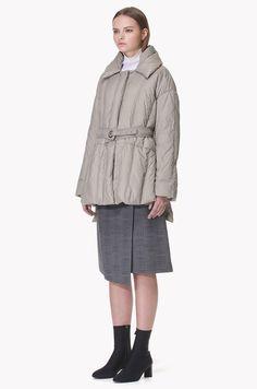 Belted goose down jumper Camel Coat, Padded Jacket, Down Coat, Celine, Coats For Women, Jumper, Winter Fashion, Raincoat, Women Wear