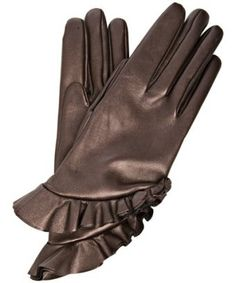 ruffles on leather gloves - swoon