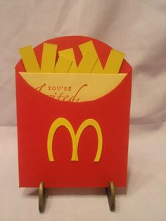 an invite I made for a Mcdonalds birthday party a friend was having for her son. Pull on the fries and the invite info comes out. Mcdonalds Birthday Party, Mario Birthday Party, Diy Birthday, 1st Birthday Parties, Mc Donald Birthday, Free Invitation Cards, Birthday Numbers, Childrens Party, Birthday Invitations