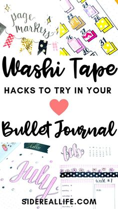 The best ways to use washi tape in your bullet journal! Find out how to use washi tape to decorate and improve your bullet journal for increased organization. Bullet Journal Washi Tape, Bullet Journal Contents, Bullet Journal Spread, Bullet Journal Layout, Bullet Journal Inspiration, Bullet Journal For Beginners, Bullet Journal Hacks, Bullet Journals, Bujo