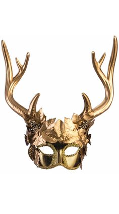 According to Greek Mythology, the Faun has the upper body of a man, and the lower body of a goat, as well as goat horns and ears. With this Golden Faun Masquerade Mask you can decorate yourself as an elegant goddess faun. With gold leaves embellishin. Animal Masquerade Masks, Gold Masquerade Mask, Halloween Masquerade, Animal Masks, Masquerade Party Outfit, Masquerade Costumes, Venetian Masquerade, Rave Costumes, Fox M