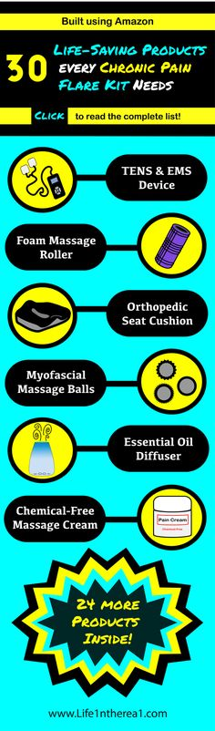 30 Life Saving Products Every Chronic Pain Flare Kit Needs - Infographic Chronic Illness, Chronic Pain, Fibromyalgia, Elhers Danlos Syndrome, Massage Roller, Invisible Illness, Essential Oil Diffuser, Flare, Kit
