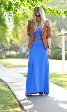 Non jean blazer (corduroy) over maxi dress with matching belt. (21 Ways to Style Your Maxi Dresses and Maxi Skirts for Fall)