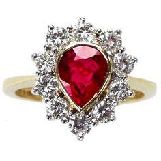Pear Shape Ruby & Diamond Cluster Ring