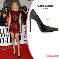 5e6c598e7bde Rosie Huntington-Whiteley wore Saint Laurent Paris pumps to the 2014 BRIT  Awards held at The Arena in London. Black Patent Leather ...