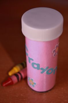 Old pill bottle used to carry emergency crayons in your purse. Nice to have on hand! I covered mine so I didn't get strange looks handing my child a pill bottle