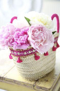 Peonies in A Beautiful Basket