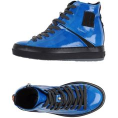 Ruco Line High-tops & Trainers ($185) ❤ liked on Polyvore featuring shoes, sneakers, bright blue, leather hi top sneakers, hi top wedge sneakers, zip sneakers, high top shoes and leather high top sneakers