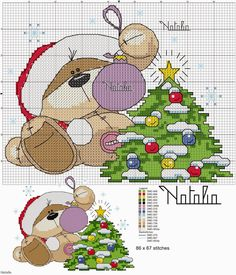 Cross Stitch Craze: Fizzy Moon Bear - Christmas - Free Patterns