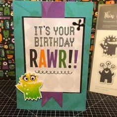 It's your Birthday Rawr! Jeepers Creepers Card www.maz.closetomyheart.com.au