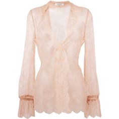 Valentino lace blouse ($2,035) ❤ liked on Polyvore featuring tops, blouses, pink blouse, pink top, v neck blouse, v neck tops and pink lace blouse