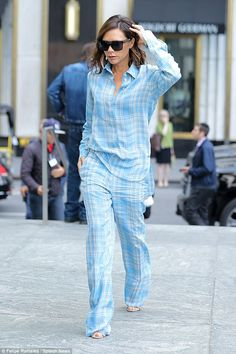 Feeling tired? Though she's anything but lazy, Victoria Beckham seemed to be feeling fatigued on Wednesday afternoon as she stepped out in a pyjama style outfit in New York