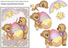 EASTER BEARS Cute card and decoupage on Craftsuprint designed by Susan Murdoch - Easter Bears painting an Easter egg - and getting paint all over themselves! Use as a card front or use as topper and make an A5 card. Step by step decoupage which is easy to cut out. There are 2 background sheets to go with this card - please click on my name above to see them and my other sheets. - Now available for download!
