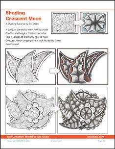Learn how to shade tangle Crescent Moon • enioken.com