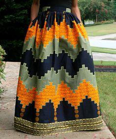 Black & Mustard Tribal Maxi Skirt