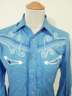 Vintage MUSIC NOTES Blue Pattern Floral Western Cowboy Shirt Small