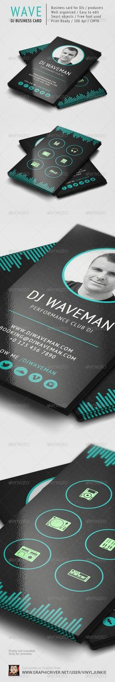 WAVE - DJ Business Card Template — PSD Template #dj template #sound #traktor dj…