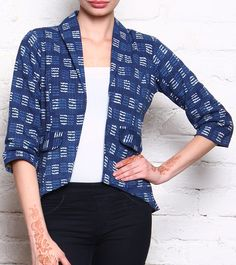 Blue Block Printed Cotton Jacket