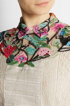 Valentino | Robe longue en tulle, dentelle et satinette à pinces à ornements