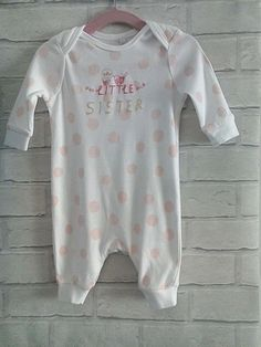 Baby Girls Little Sister Sleepsuit Babygrow 0-3 months Bluezoo #Bluezoo