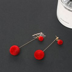 Round Long Tassel Red Black Plush Ball Drop Earrings For Women. #jewelry #Earrings