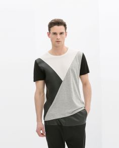 ZARA - MAN - FAUX LEATHER COMBINATION T-SHIRT WITH SEAMS