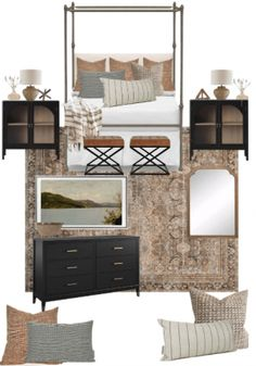 Struggling with putting a room together? I can help you design the room your dreaming of or shop the mood board. off pillow covers with code Master Bedroom Design, Home Bedroom, Modern Bedroom, Bedroom Decor, Master Bedrooms, Bedroom Minimalist, Bedroom Images, Home Decor Inspiration, Sweet Home