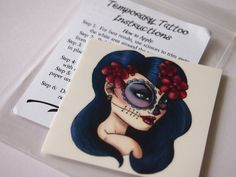 Day of the Dead Girl Illustrated Temporary Tattoo. $5.00, via Etsy.