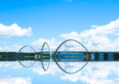 Three 60-metre-high arches crisscross the deck of the Juscelino Kubitschek Bridge in Brasília