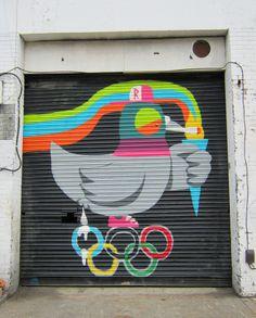 Olympic pigeon graffiti street art