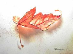 Watercolour Painting in Progress: Autumn Leaf by Diana Persson
