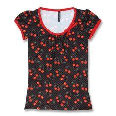 Cherries Arts Black Shirt