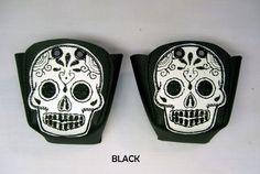 Black Leather Roller Derby Skate toe guards with white Sugar skulls