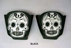 Black Leather Roller Derby Skate toe guards with white Sugar skulls...it's leather but...