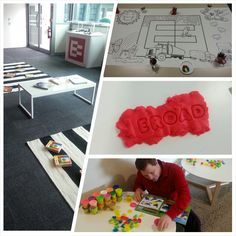 All set up... and a not-so-mini EROADer goes straight for the play dough! #goodvsevil #playatEROAD