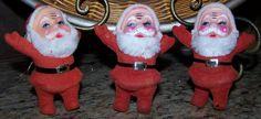 3 VINTAGE FLOCKED SANTA CLAUS ORNAMENTS** VINTAGE CHRISTMAS!**SET OF 3!* CUTE!