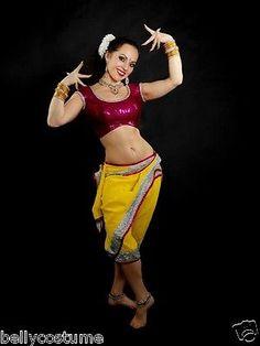 Lavani lawani Bollywood dance costume Yellow Pink choli pant pants