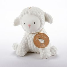 This ceramic bank is shaped like a fluffy baby lamb and is perfect for storing your little one's treasures.