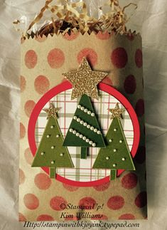 Festival of Trees, Christmas Treat Bag for my Christmas party. I stamped this with all Stampin' Up! Products. Use it for gifts or cookies, candies and treats. Also see my tutorial on how I hand stamped the craft bag. It's a simple and easy idea for favors or treat bags and gift bags.