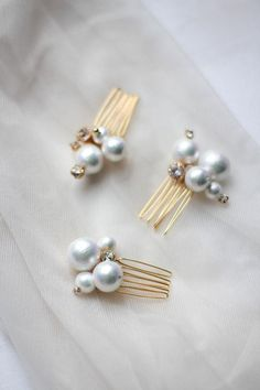 Bridesmaid Bridal Jewelry Set Pearl Hair Pins Bridal Mini Pins Cotton Pearl Mini Combs Small Hair Pins with Cotton Pearls ONE PIN - x Pearls aesthetic x - brautjungfern kleider Bridal Jewelry Sets, Bridal Hair Accessories, Bridal Earrings, Wedding Jewelry, Stud Earrings, Hair Jewelry, Fine Jewelry, Fashion Jewelry, Pearl Jewelry Set