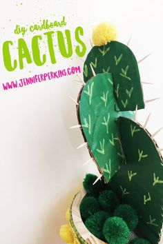 Easy DIY Cardboard Cactus by Jennifer Perkins DIY deko Craft an Easy & Adorable DIY Cardboard Cactus with Jennifer Perkins Upcycled Crafts, Easy Diy Crafts, Diy Craft Projects, Crafts To Make, Craft Ideas, Cactus Craft, Cactus Decor, Cactus Cactus, Mini Cactus