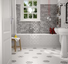 Piece together a striking monochrome feature wall with these Mono Patchwork Metro Tiles. Rectangular in shape, these metro tiles consist of a variety of eye-catching geometric patterns – all in black and white. Tiles, Flooring, Indoor Tile, Interior, Classic Bathroom, Wall Tiles, Tile Floor, White Bathroom Tiles, Tile Bathroom