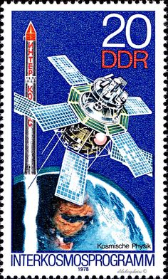 German Democratic Republic.  ACHIEVEMENTS IN ATMOSPHERIC & SPACE RESEARCH.  INTERCOSMOS 1 SATELLITE. Scott 1899 A576.  iSsued 1978 Mar 21, Photo., Perf. 14 x 13 1/2,  20. /ldb.