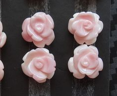 Pink Queen Conch Shell Carved Half Drilled Rose for stud by migem
