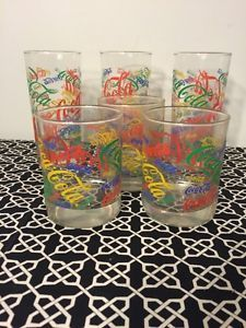 MULTI COLORS OF  Coca Cola glasses- 2 sizes RED, GREEN, BLUE,YELLOW