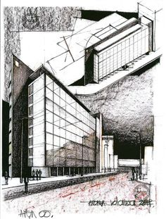 Europe House - a modern building by the romanian architect Vlad Arsene situated in Piata Victoriei, Bucharest. In aquarels this time. Revit Architecture, Bamboo Architecture, Architecture Sketchbook, Architecture Board, Architecture Visualization, Destinations, Bucharest, Modern Buildings, Layout