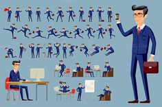 cartoon businessman in blue suit by Rommeo79 on @creativemarket