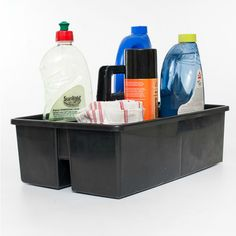 All purpose caddy for cleaning supplies. Plastic caddy with handle. Division inside the all purpose caddy. Available from www.neatfreak.co.za