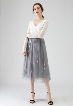 49f0c308dc My Fairytale Sequin Tulle Mesh Skirt in Grey - Retro, Indie and Unique  Fashion